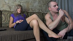 Girl in short black skirt Nora gets her toes licked by nasty Nicholas