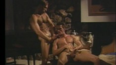 Buff gay newbie gets undressed and munches his lover's schlong