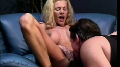 Blonde busty bitch gets her soaking wet yummy cunny eaten all up