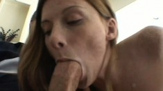 Teasing girl Allison Whyte gives some awesome head to a big boner