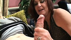 Naughty mature lady with big natural boobs sucks and fucks a young stud's big dick
