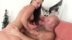 Dazzling young brunette with perky boobs has sex with an older dude