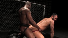 Interracial gay lovers take turns hammering each other's juicy asses
